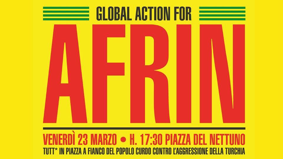 Global Action for Afrin. Venerdì 23 marzo a Bologna