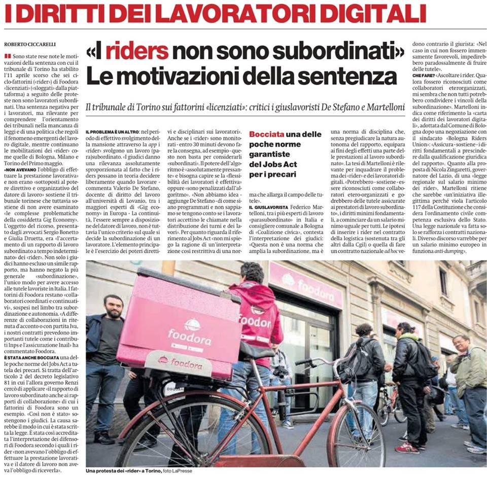 Martelloni: «Per tutelare i diritti dei riders bisogna prima ascoltare i lavoratori»
