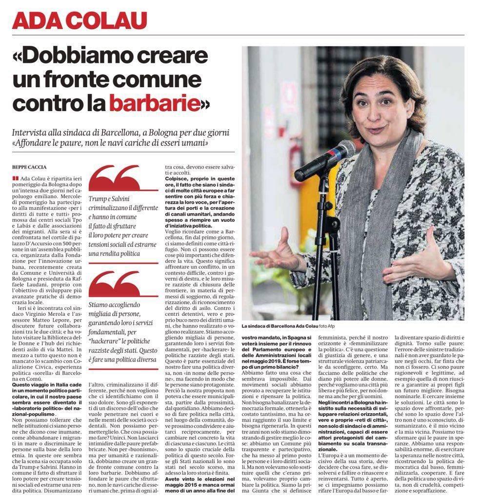 La lezione di  Ada Colau a Bologna: Le città inventano la politica