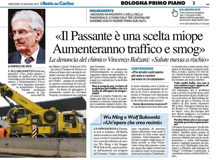 """Per Balzani """"Il Passante di Bologna è una scelta miope. Aumenteranno traffico e smog"""""""