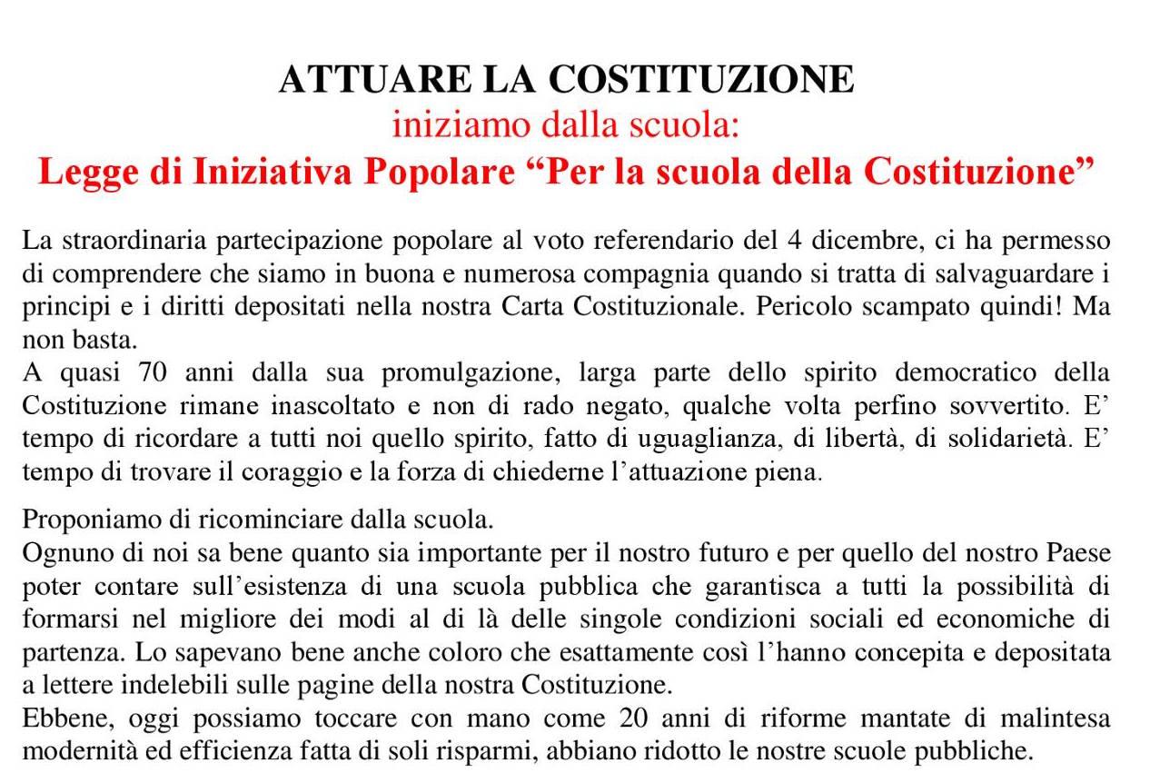 """Legge di Iniziativa Popolare """"Per la scuola della Costituzione"""""""