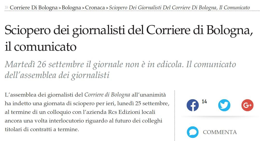 Solidarietà ai giornalisti del Corriere di Bologna