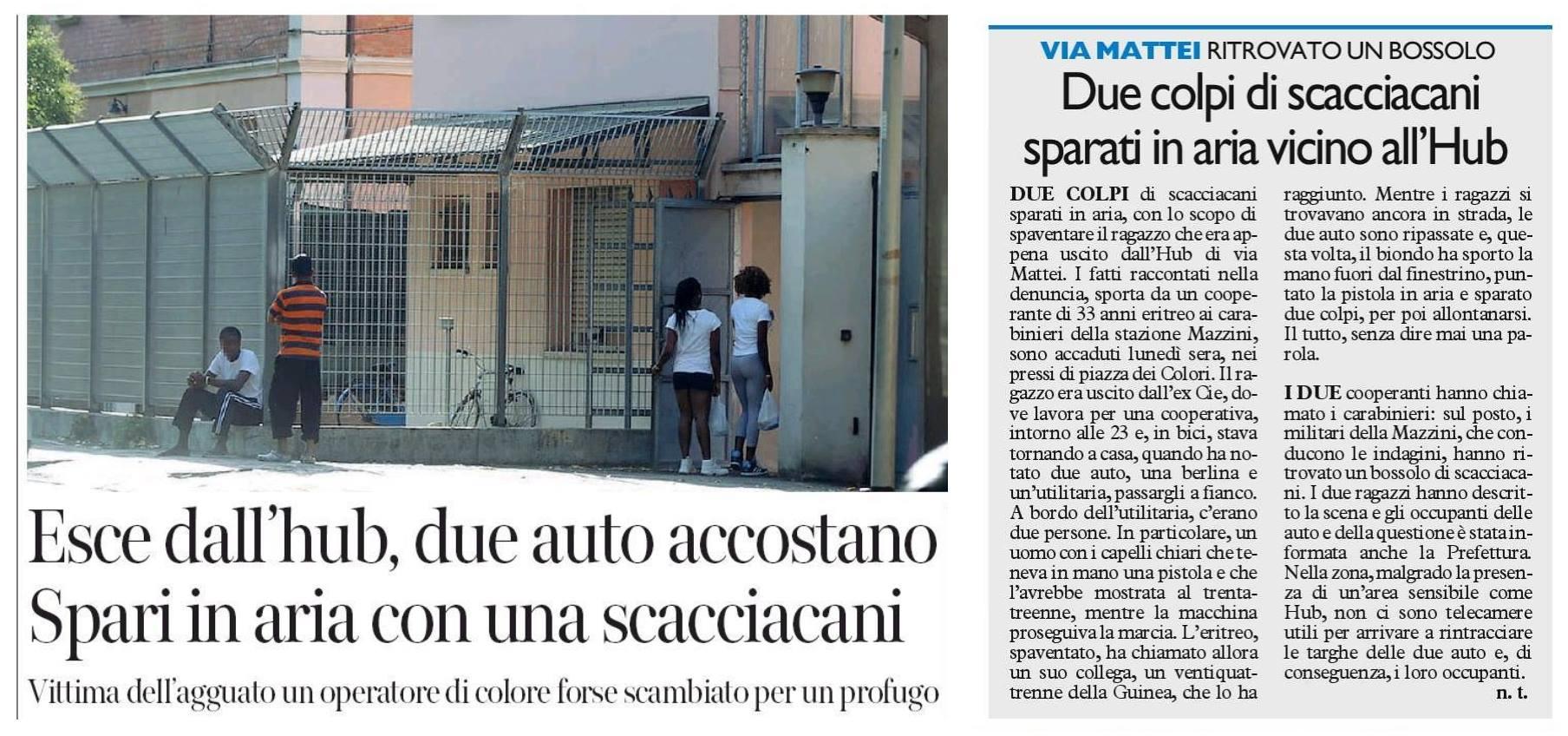 Colpi d'arma da fuoco all'hub di Via Mattei. Rispondiamo partecipando sabato in piazza a Roma: #Nonèreato!
