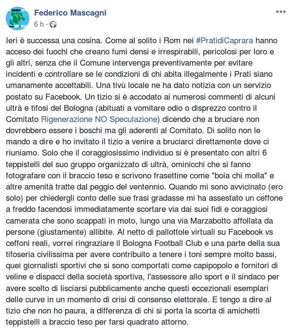 Solidarietà a Federico Mascagni, attivista del Comitato Rigenerazione NO Speculazione aggredito ieri.