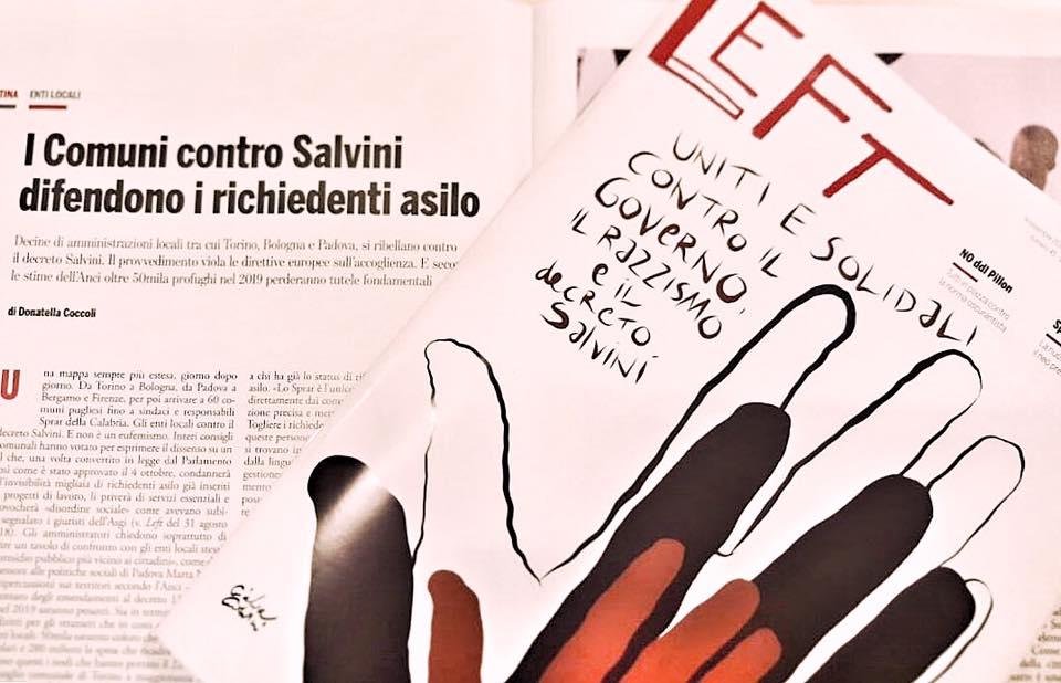 I comuni contro Salvini. Un articolo su LEFT in edicola parla di noi