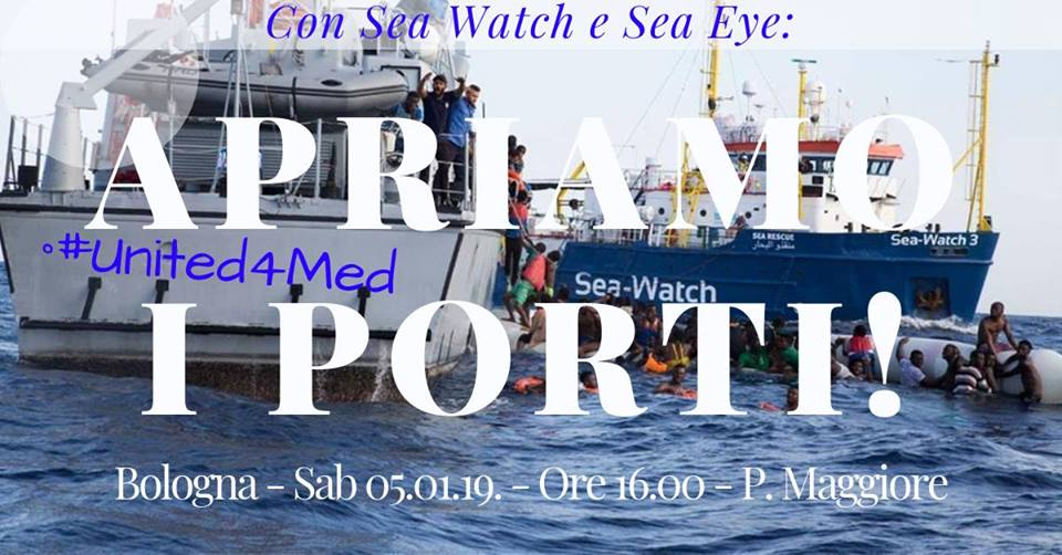 Con Sea Watch e Sea Eye: Apriamo i porti! Presidio a Bologna