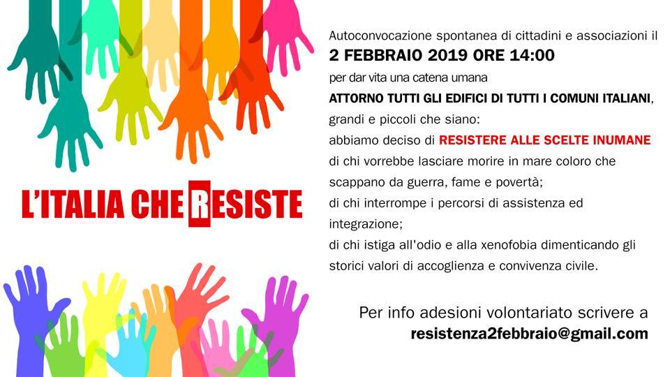 """Adesione al presidio """"L'Italia che Resiste"""""""