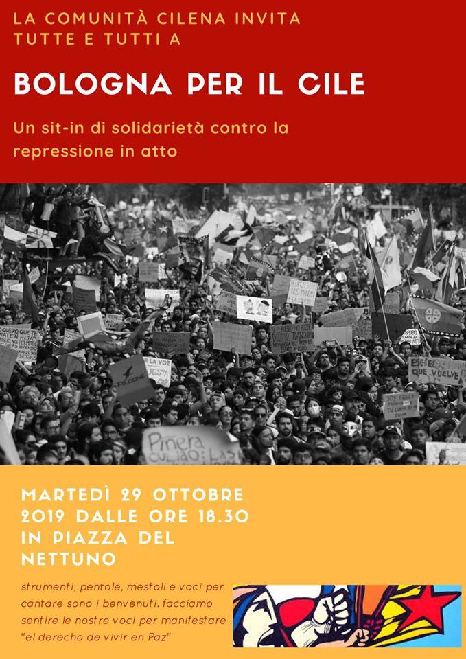 Bologna per il Cile-Sit in di solidarietà contro la repressione