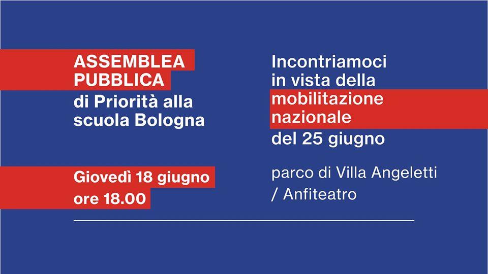 Priorità alla scuola Bologna nel parco di Villa Angeletti, per costruire insieme la manifestazione del 25 giugno.