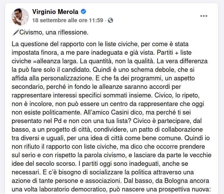 Civismo: Le dichiarazioni odierne del Sindaco di Bologna Virginio Merola giovano al dibattito sul futuro della città