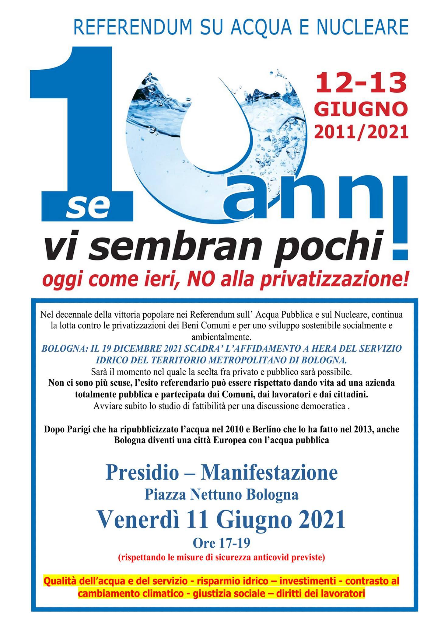 In piazza a 10 anni dal referendum sull'acqua pubblica